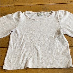 madewell long sleeved cream colored blouse